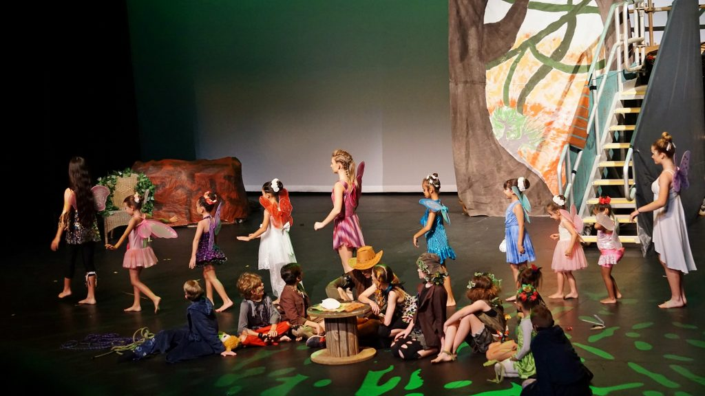 Children in fairy and lost boy costumes on stage
